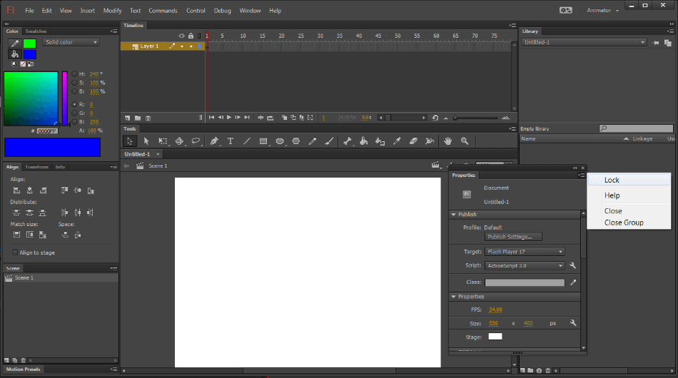 Adobe Animate Interface