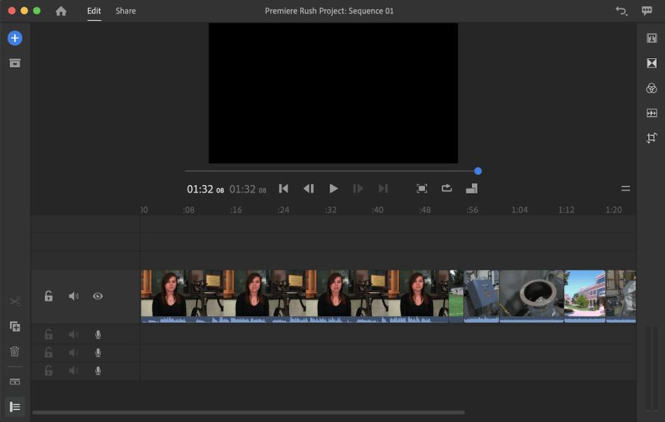 Adobe Premier Rush interface