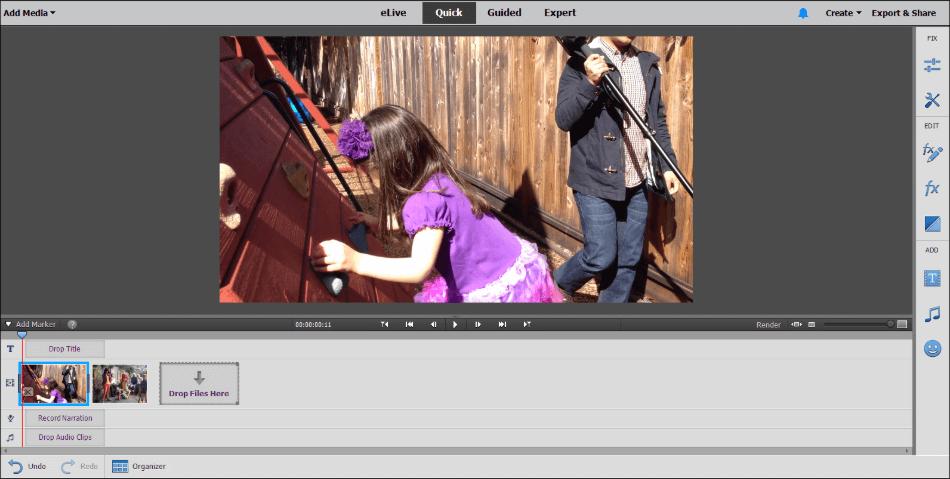Adobe Premiere Elements quick interface