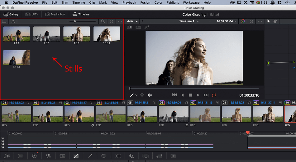 DaVinci Color Correction Implentation of Stills