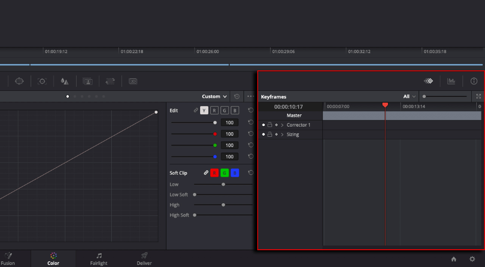 DaVinci Color Key Frame Editor