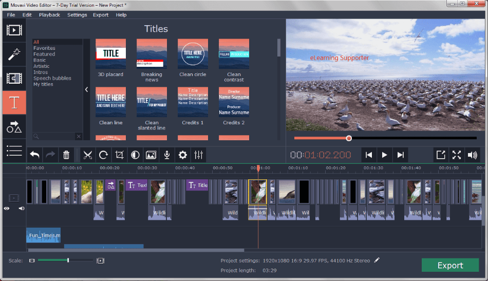 Movavi Video Editing Interface