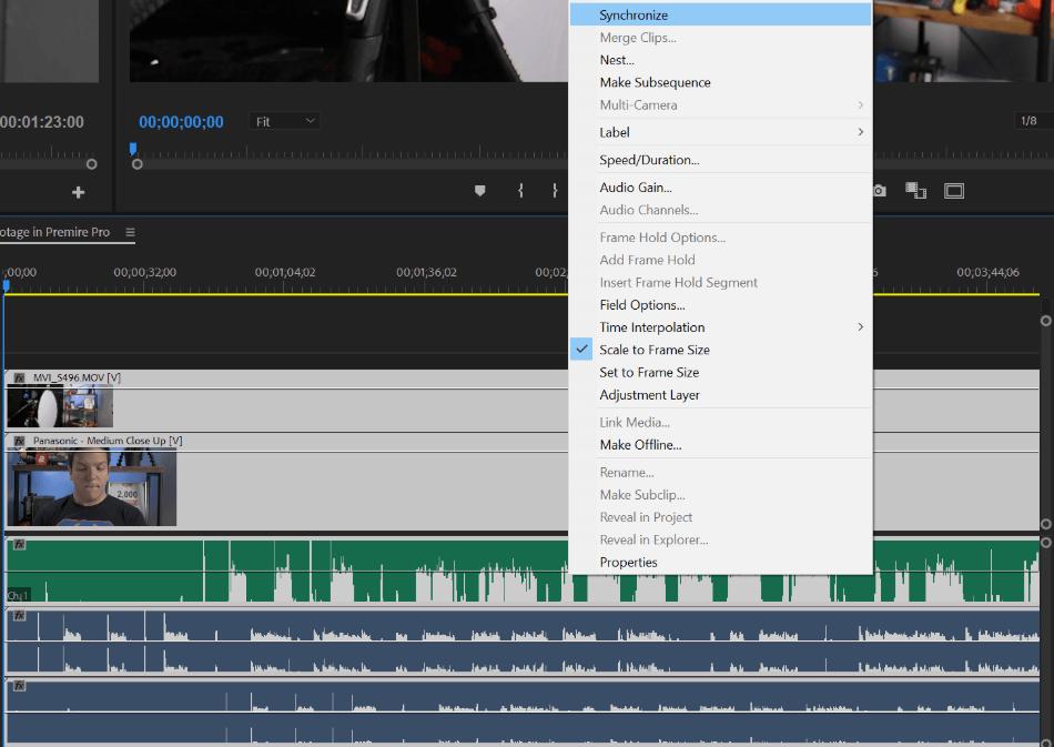 Premiere Pro Audio Synchronize Tool