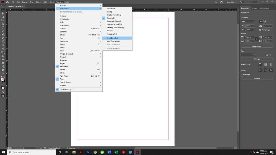 Adobe InDesign Interface