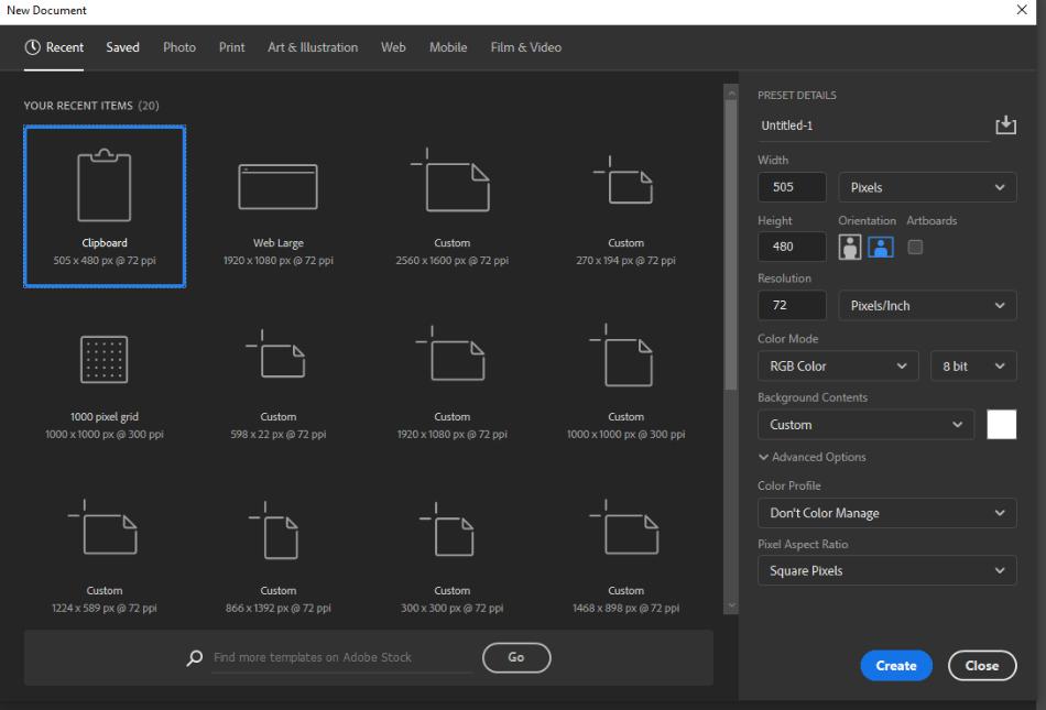 Adobe Photoshop Document Customization