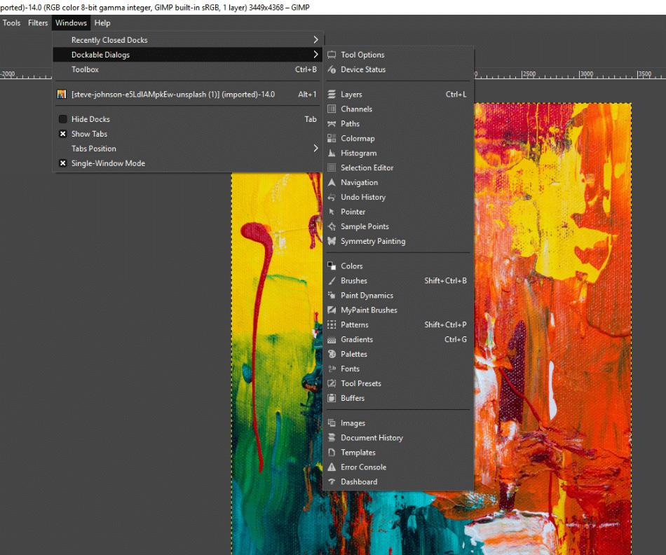 GIMP Dockable Dialogs