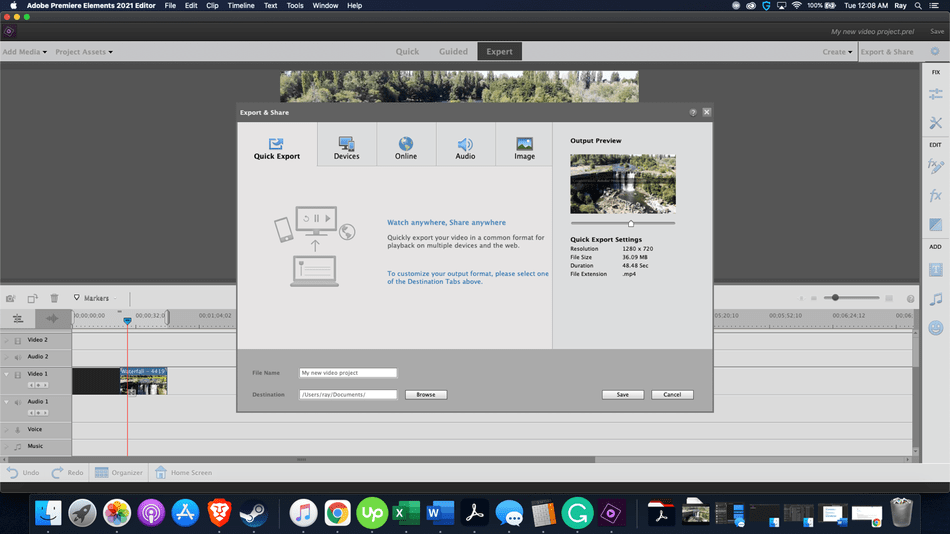 Adobe Premiere Elements Review quick export setting