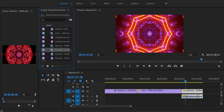 Adobe Premiere Pro assembly tab