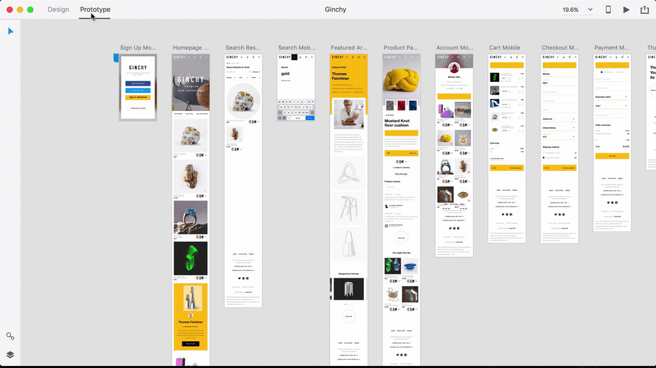 Adobe XD prototype