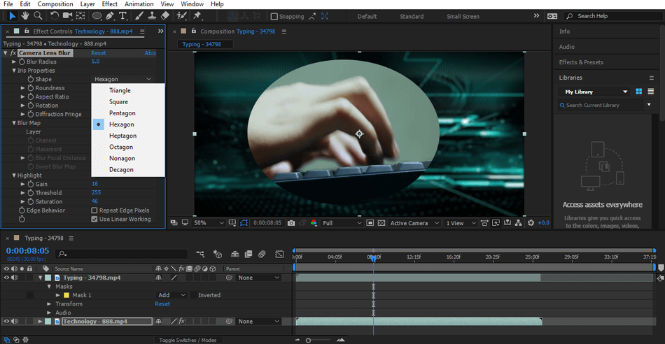 After Effects camera lens blur effects