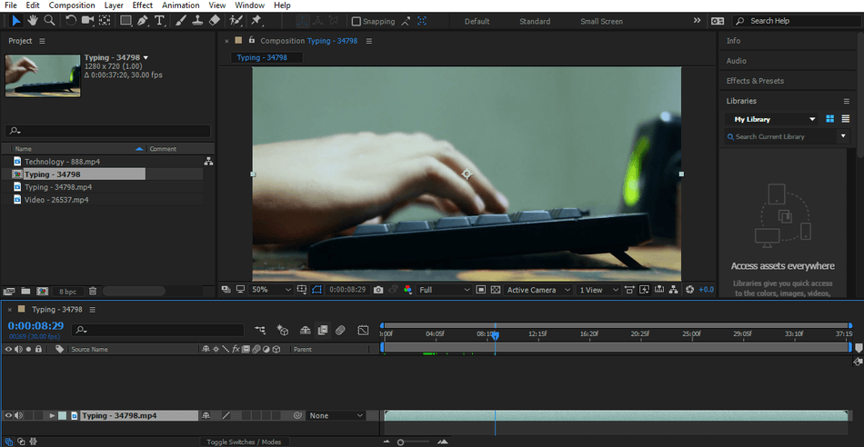 After Effects zoomed in interface