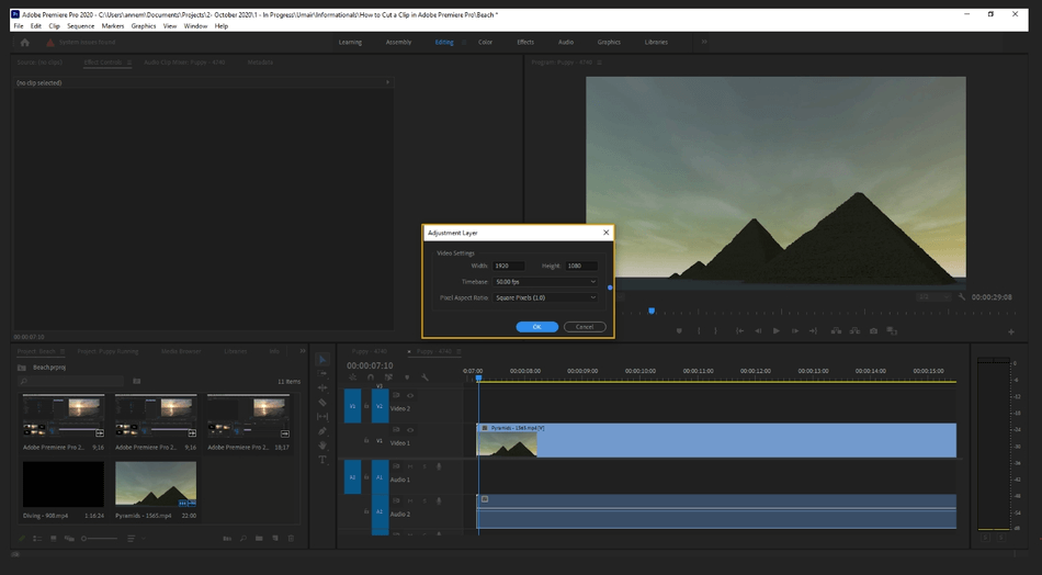 How to Add an Adjustment Layer in Adobe Premiere Pro 1