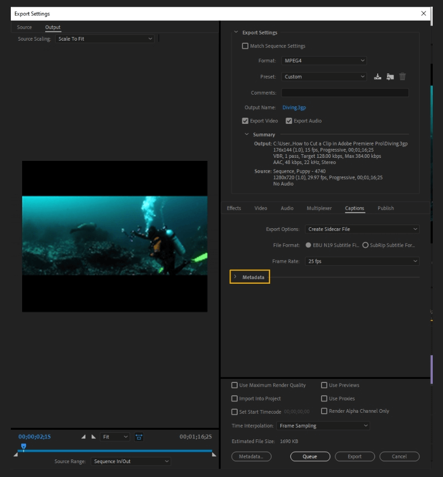 How to Export Adobe Premiere Pro File to mp4 Format 64
