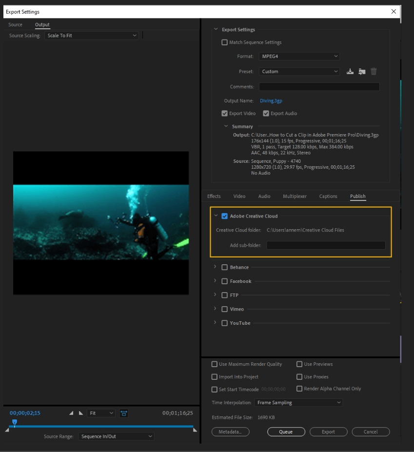 How to Export Adobe Premiere Pro File to mp4 Format 66