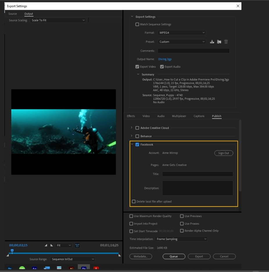 How to Export Adobe Premiere Pro File to mp4 Format 68