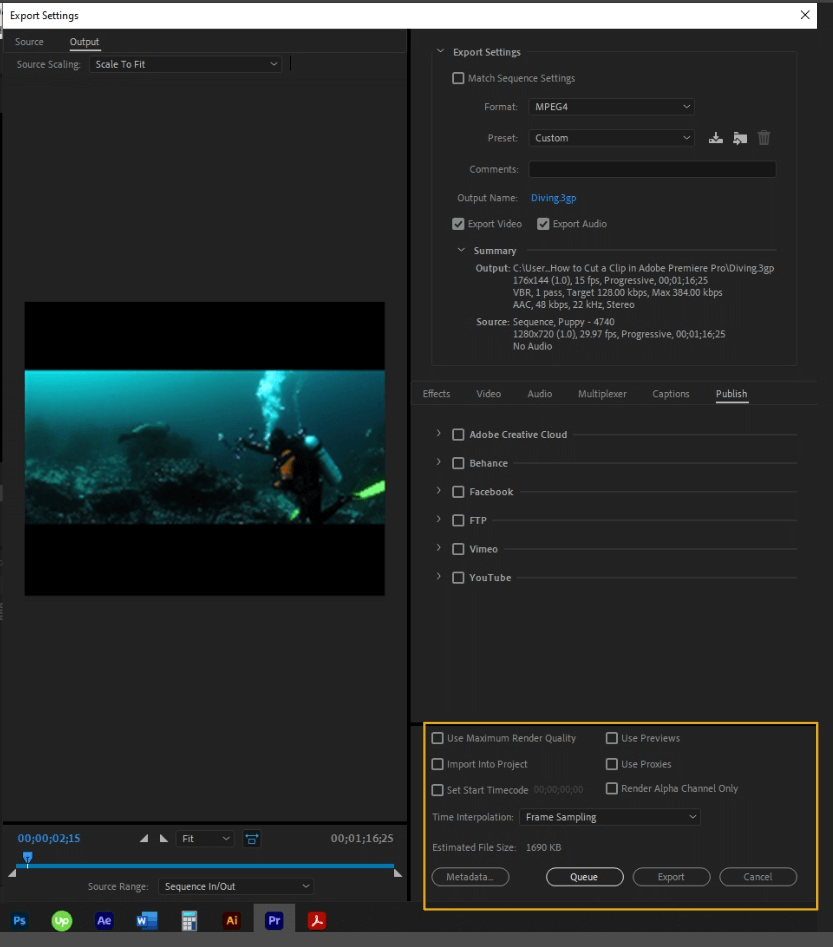How to Export Adobe Premiere Pro File to mp4 Format 72