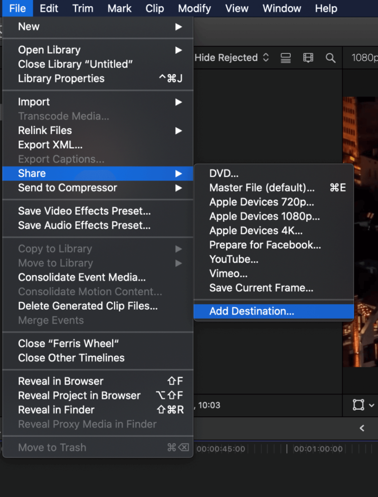 How to Export on Final Cut Pro 15