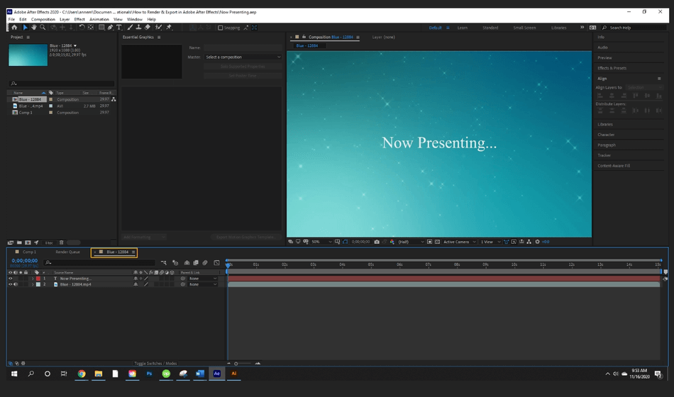 How to Render Export in Adobe After Effects 1