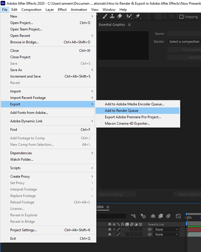 How to Render Export in Adobe After Effects 2