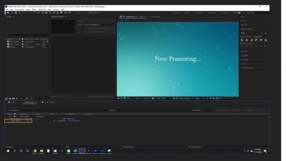 How to Render Export in Adobe After Effects 25
