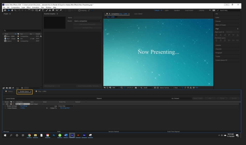 How to Render Export in Adobe After Effects 3