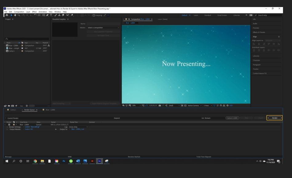 How to Render Export in Adobe After Effects 53