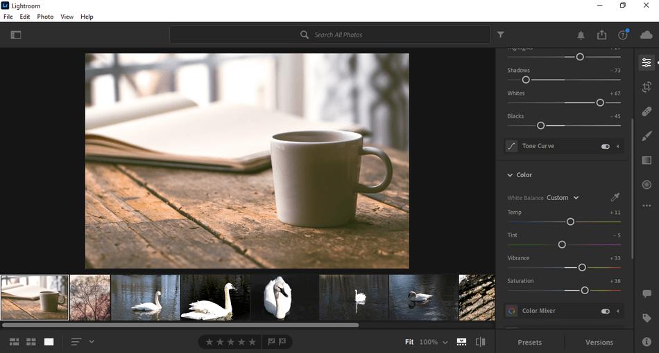 Lightroom CC interface