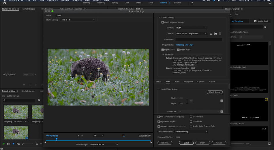 adobe premium pro export setting
