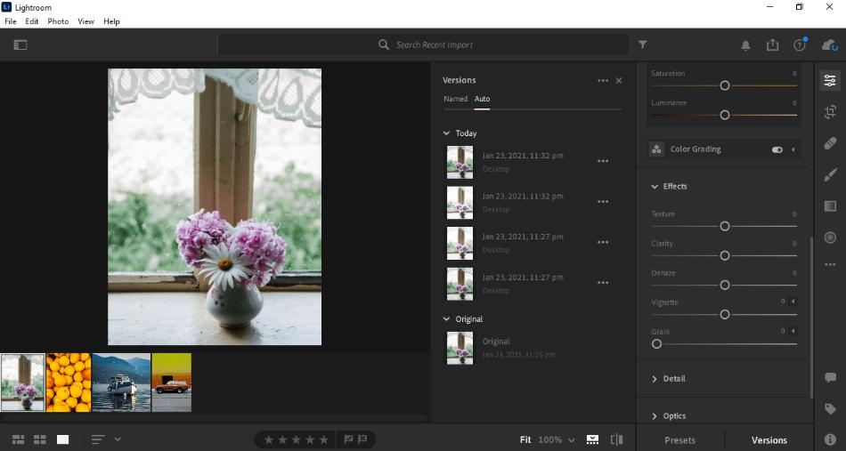 Adobe Lightroom adding effects filter