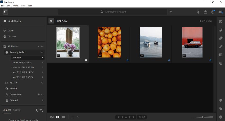 Adobe Lightroom adding images