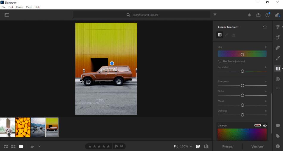 Adobe Lightroom applying lineat gradient on image