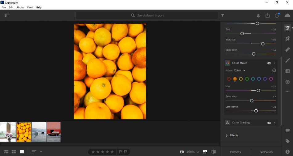 Adobe Lightroom color mixer editing