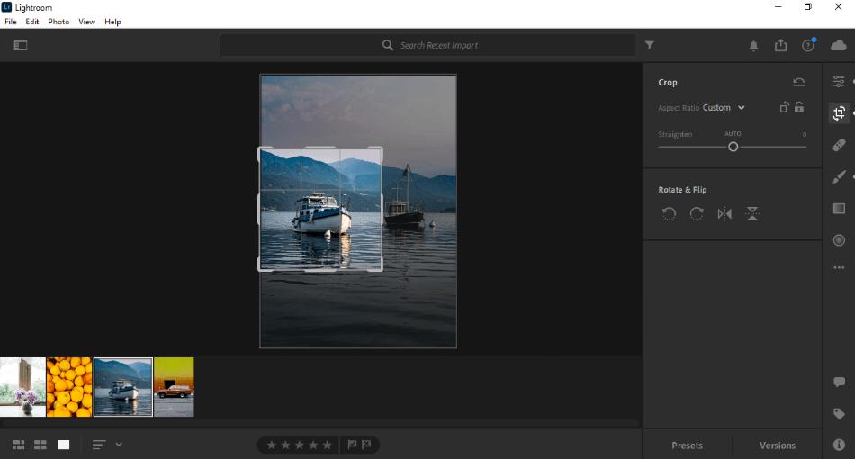 Adobe Lightroom image cropping