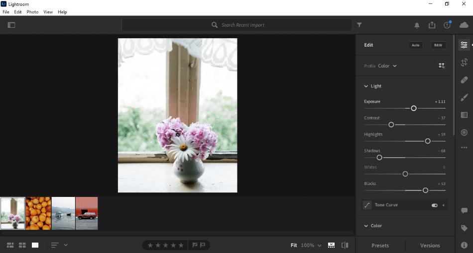Adobe Lightroom image editing