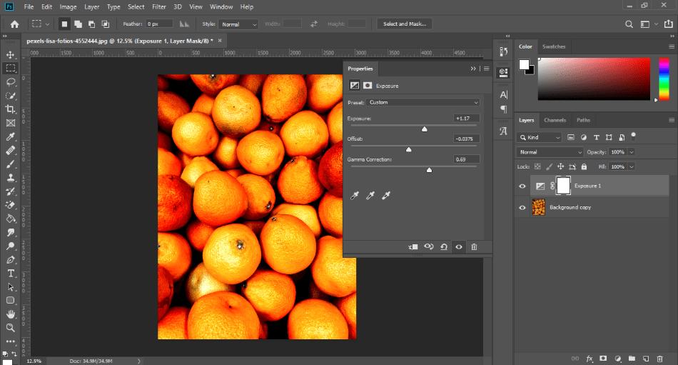 Adobe Photoshop exprosure