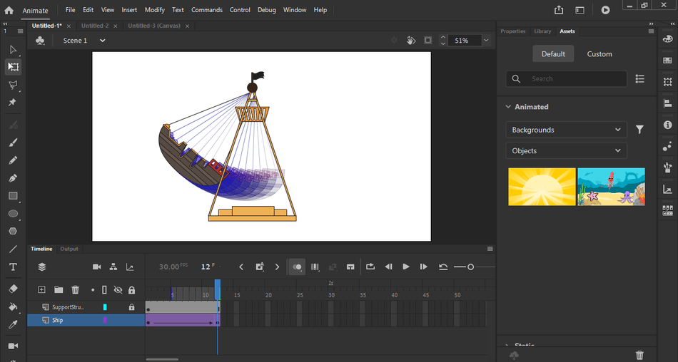 Animate image setting in timline