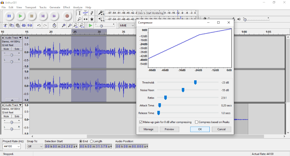 Audacity - VOLUME - COMPRESS
