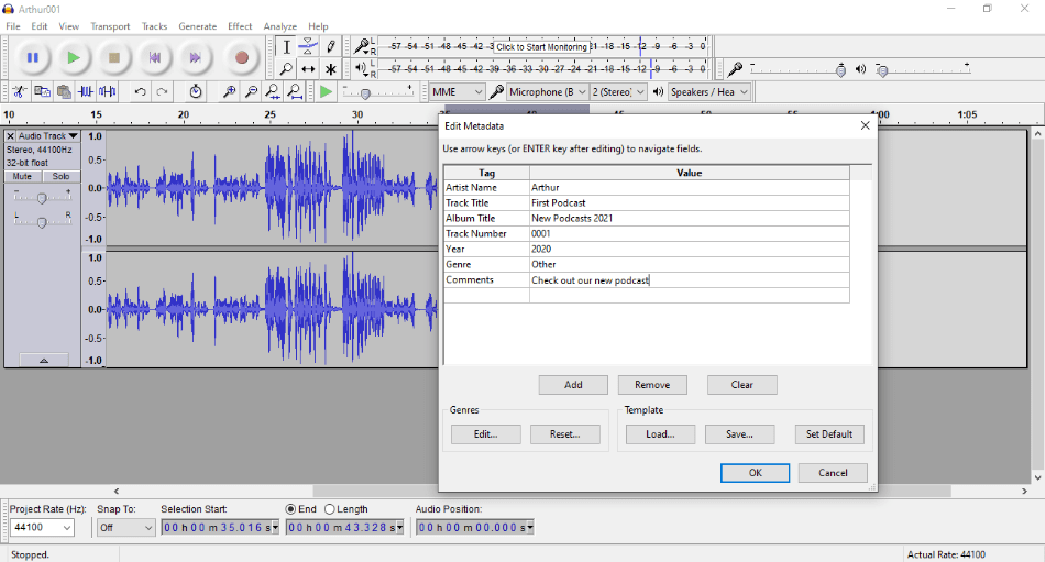 Audacity - EDIT - METADATA
