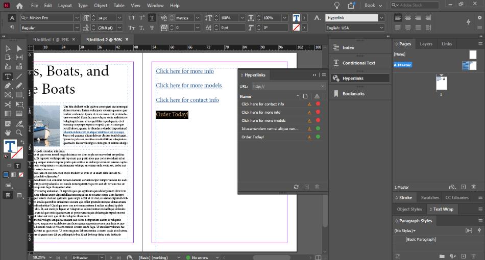 In Design adding hyperlink