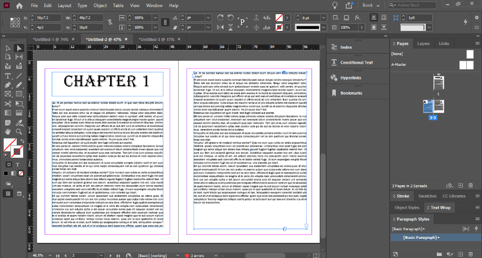 In Design chapter 1 continue next page