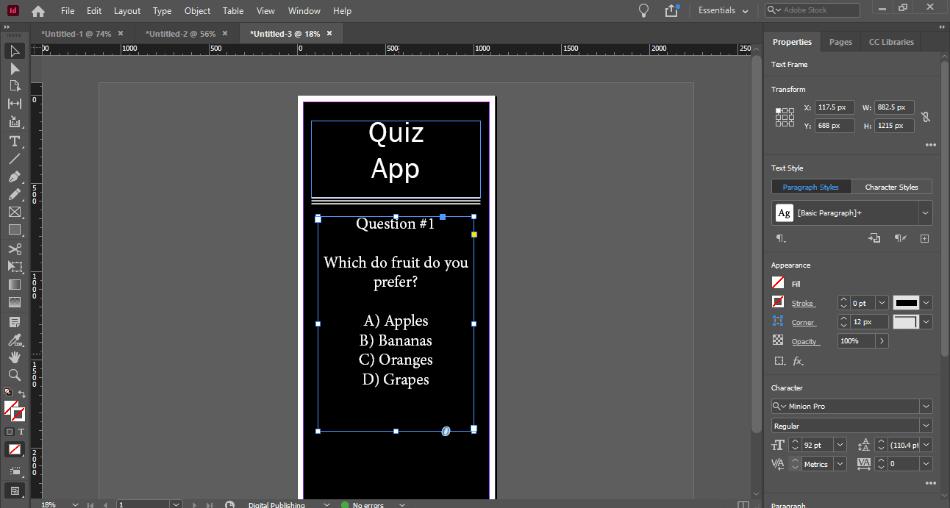 In Design quiz app