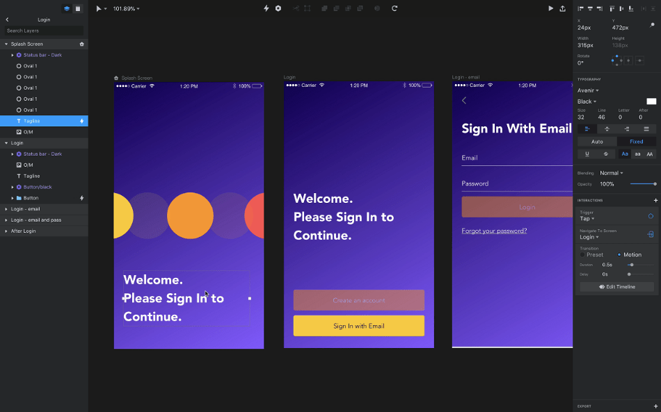 InVision - designing - the - signup form