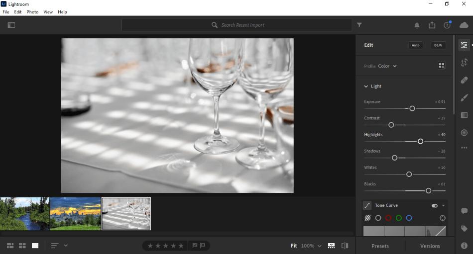 Lightroom editing
