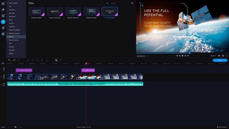 Movavi adding titles on video