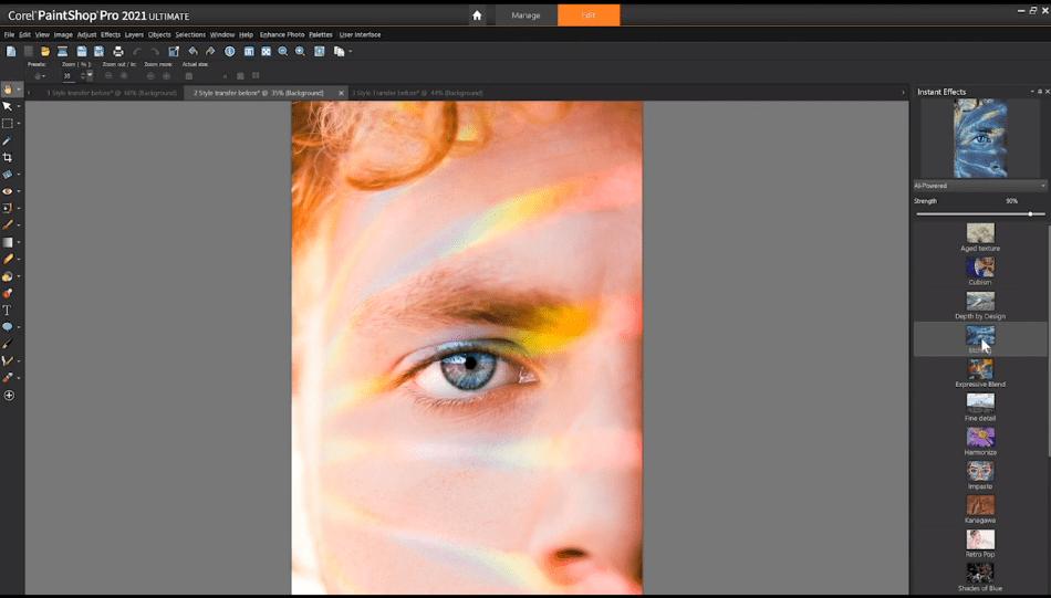 Paint shop Pro adding filter