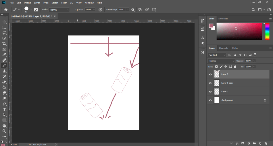 Photoshop draw an object on other different layer