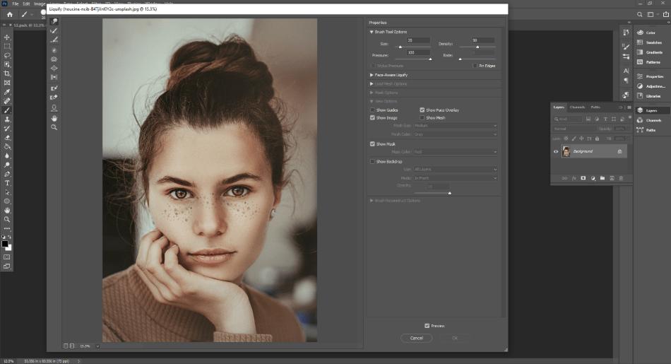 adobe photoshop liquify properties