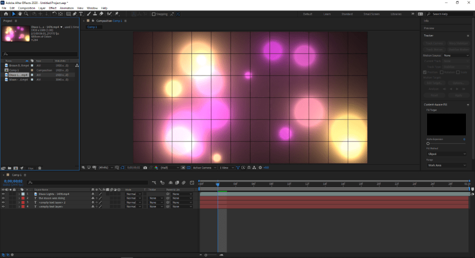 ae placing image to timeline