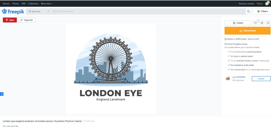 freepik downloading the london eye