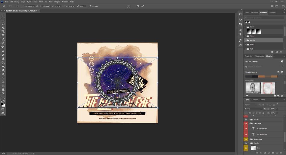 freepik drop down the illustration work on photoshop layer